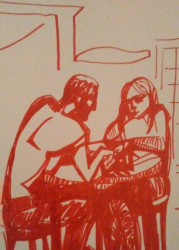 Red marker drawing of a male and female sitting at a table. There is tension.