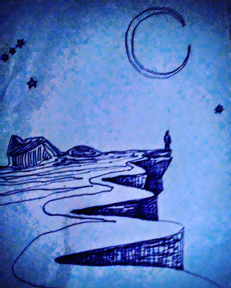 drawing of a person standing at the edge of a cliff with a crescent moon and stars above. In blue/navy.