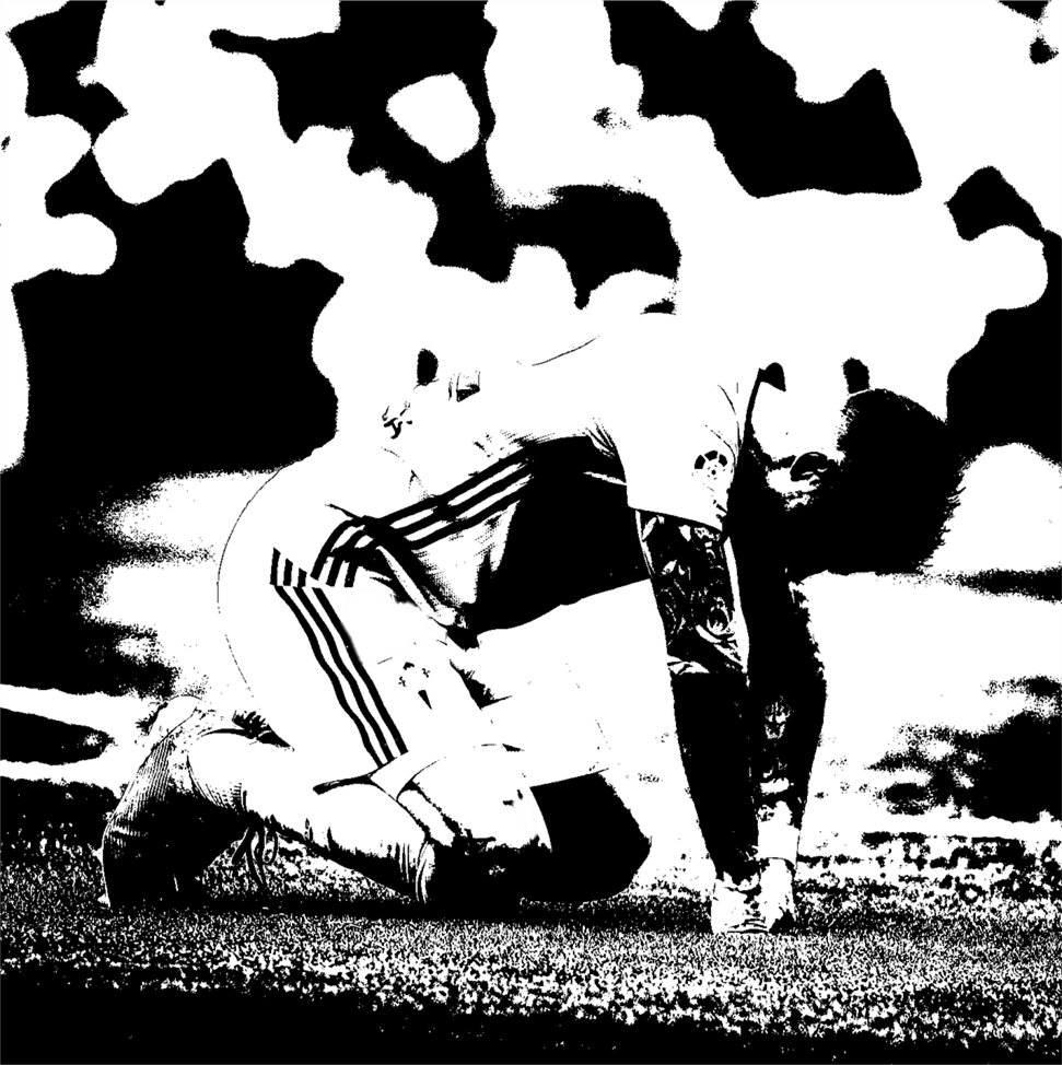 Black and White photo of a soccer player on his knees