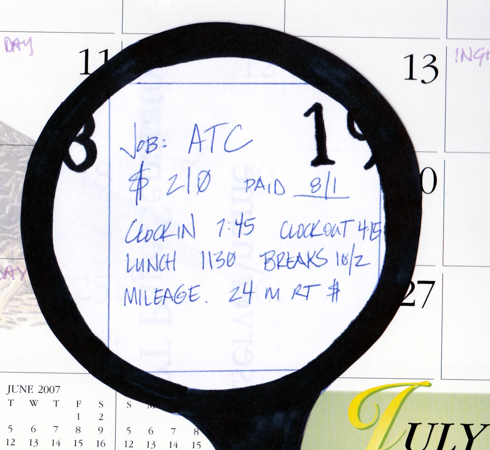 Calendar with magnifying glass on a job listing