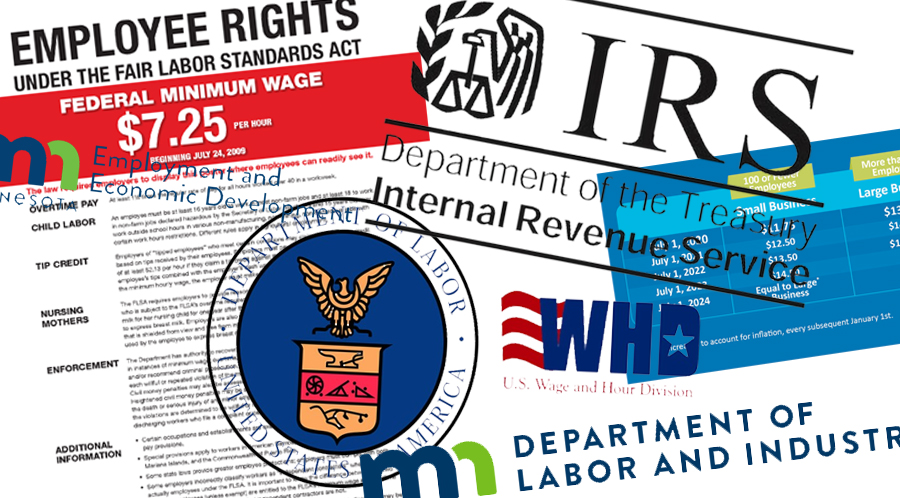 Logos from WHD, Department of Labor and Industry, IRS, DLUSA and Employee rights form