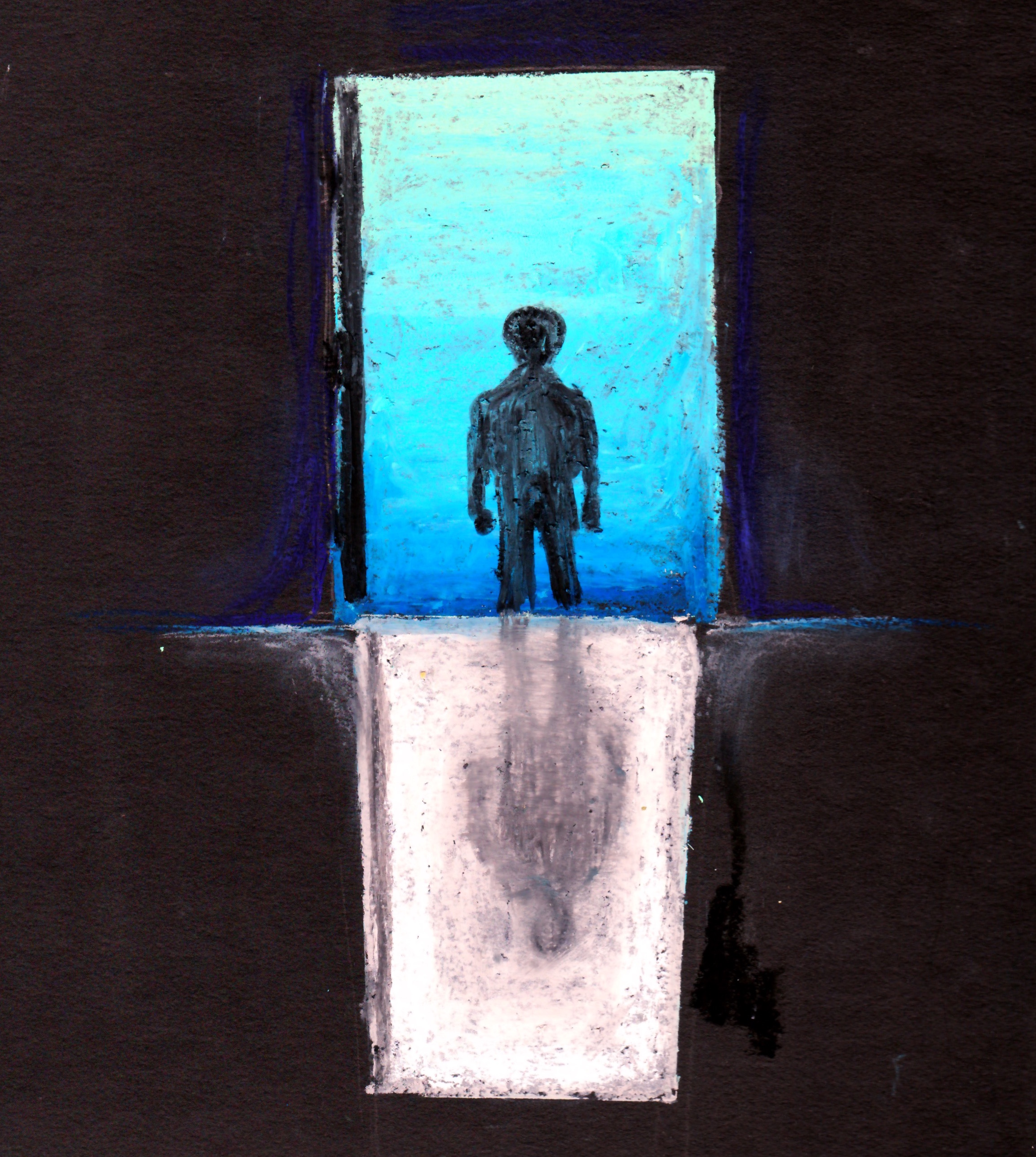 drawing of a person walking out a door way with light shining in casting a shadow