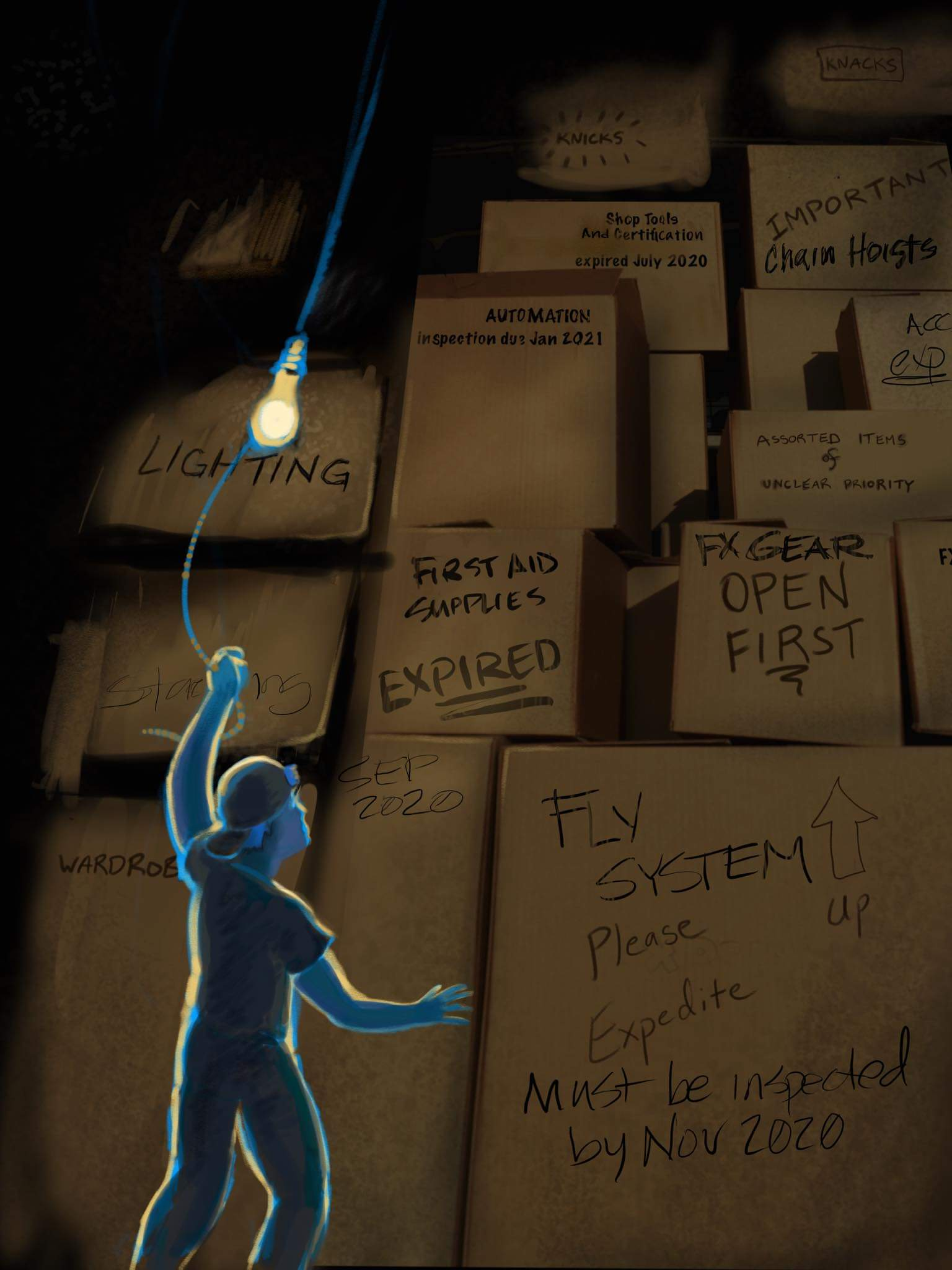 """Cartoon stagehand + boxes labelled with systems from the article but specifically noted as EXPIRED. """"Fly system: expired August 2020"""" or """"Fire Alarms: expired December 2020"""""""